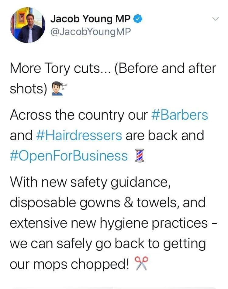 Jacob Young MP's tweet