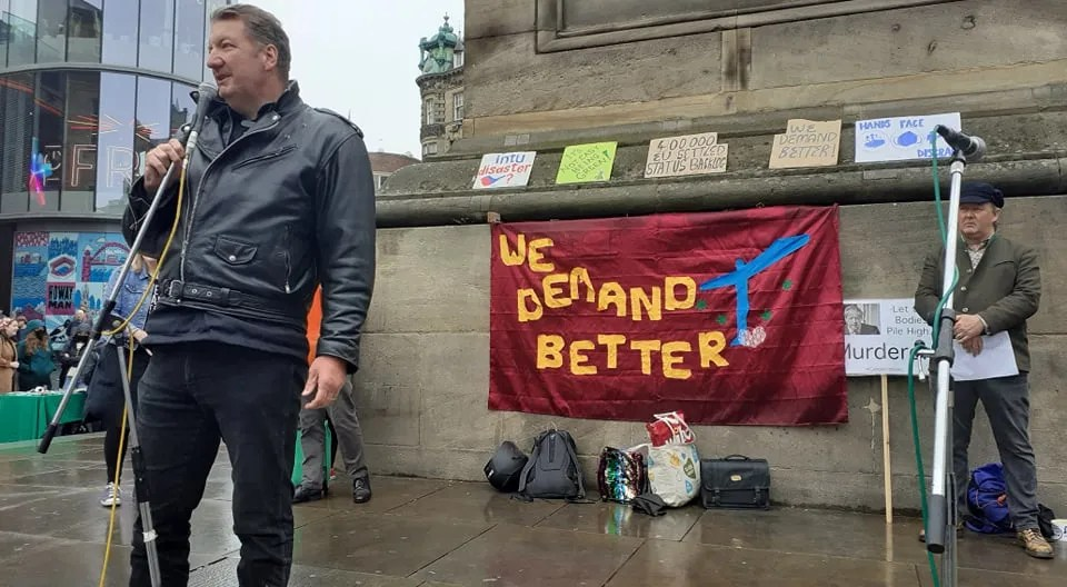 Bill Corcoran speaking at the #WeDemandBetter rally in Newcastle on 26 June 2021