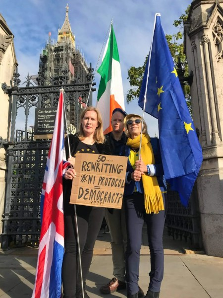 Protestors outside parliament