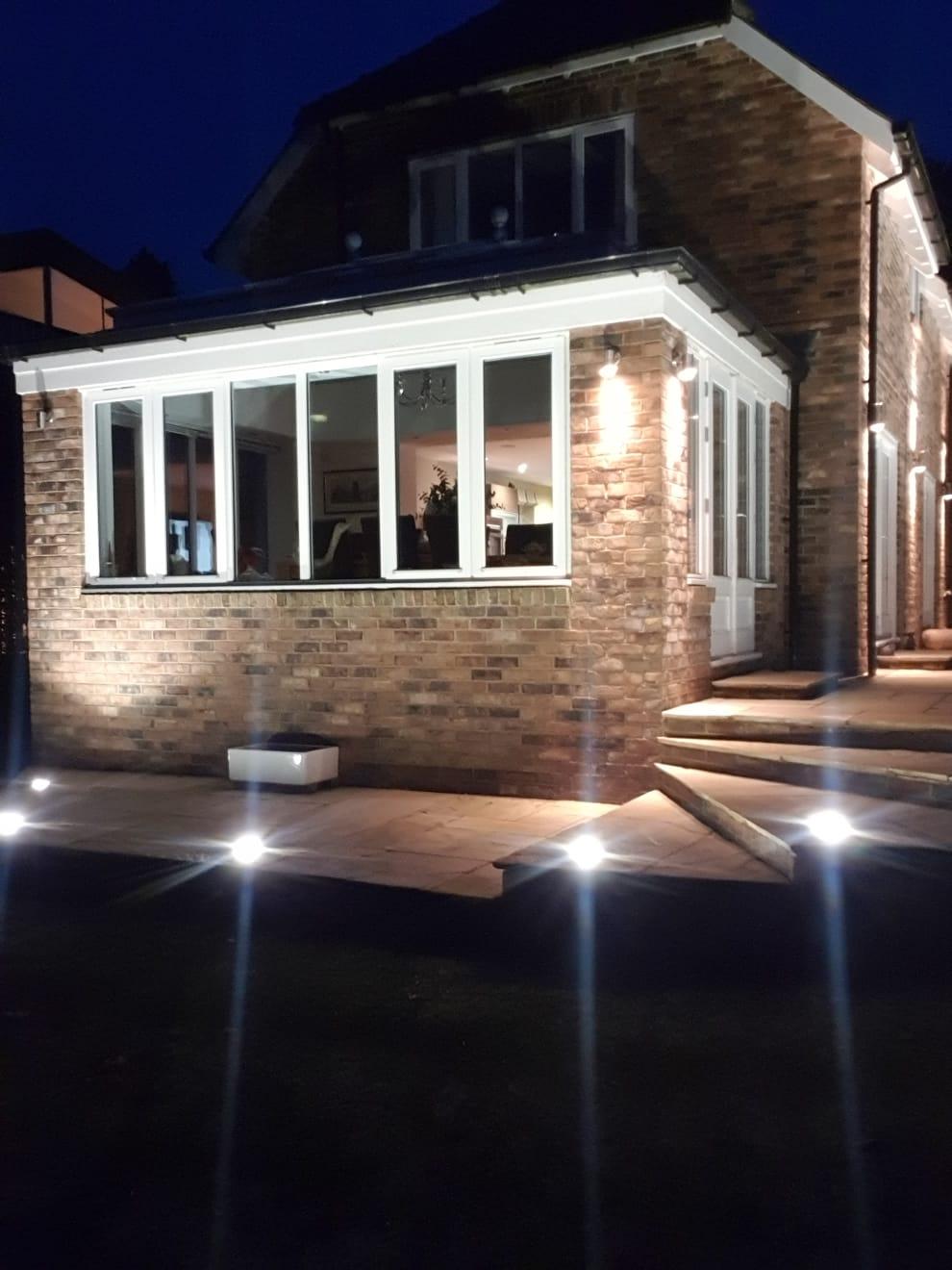 outdoor patio floor lights installed