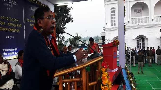 Rajen Gohain flags off Agartala – Bangalore Humsafar Express