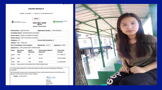 Mizoram: Chakma girl cleared NET Exam at 21 years