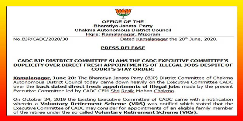 Mizoram: CADC BJP dist committee slams CADC executive committee's over back dated appointments