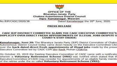 Photo of Mizoram: CADC BJP dist committee slams CADC executive committee's over back dated appointments