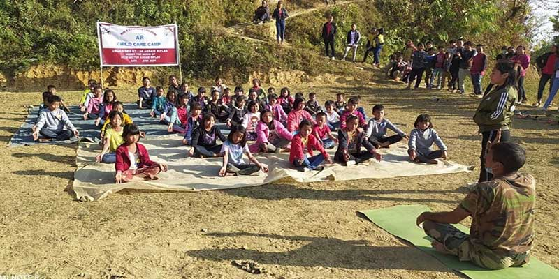 Manipur:  Assam Rifles organises Yoga camp for village children