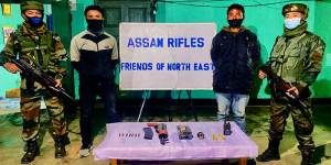 Manipur: Security forces apprehend two KCP PWG cadres with weapons & explosives