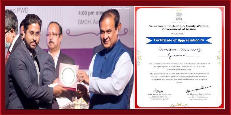 Govt of Assam appreciates Assam down town University for contribution in the fight against Covid-19