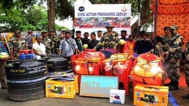 Meghalaya: BSF distributes Solar light, Spray Pump etc to the villagers residing alongIndo-Bangaldesh Border