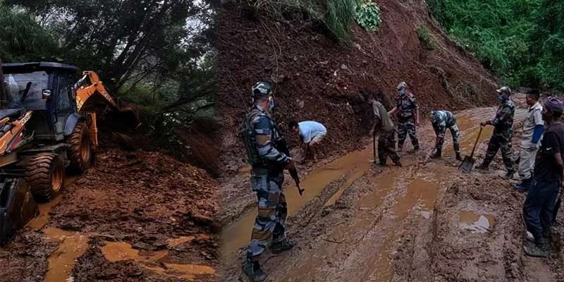 Nagaland:Assam Rifles assists in clearing landslide at Longkhimong Village