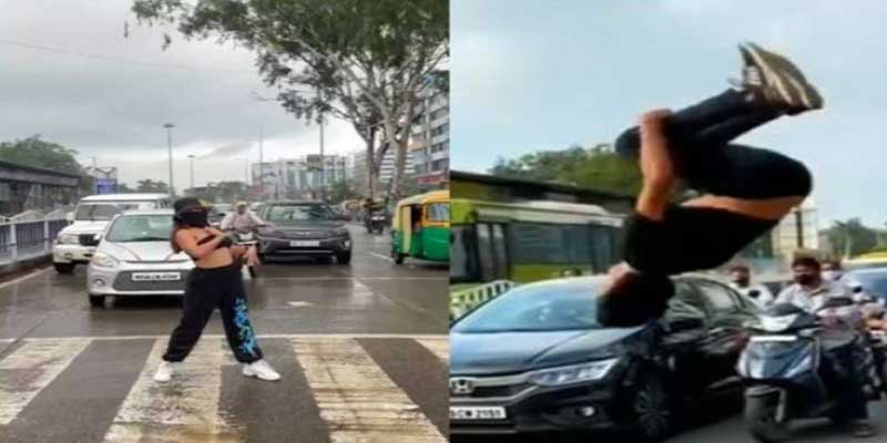 After a Model danced, Now Boy performed STUNT at traffic signal in Indore, video goes viral
