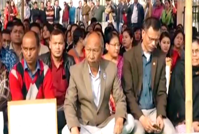 Assembly staff stage sit-in-protest condemning grenade attack at Manipur House complex