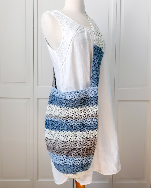Image of mannequin wearing The Essential Tote made from Caron Cotton Cakes
