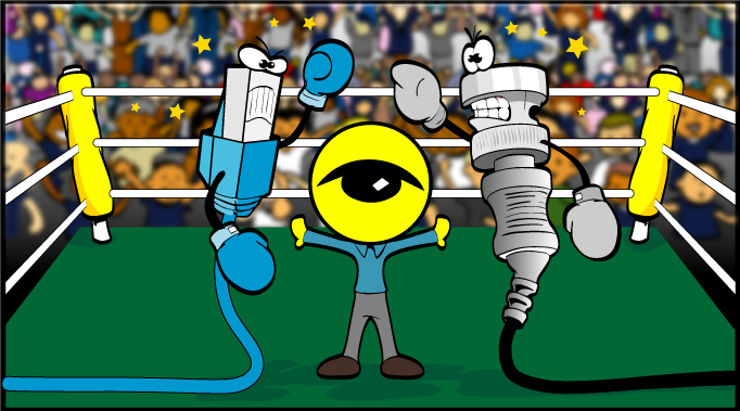 cartoon of a cat5 camera cable getting ready to box a bnc camera cable