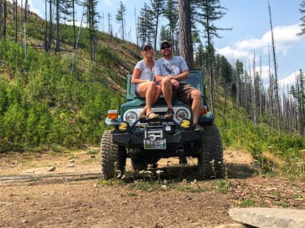 Couple on Toyota Landcruiser