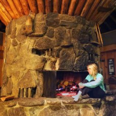 Central fire place at Downing Mountain Lodge