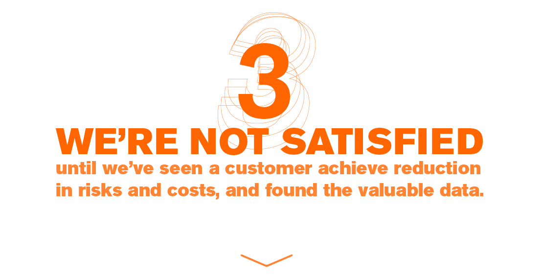 WE'RE NOT SATISFIED until we've seen a customer achieve reduction in risks and costs, and found the valuable data.