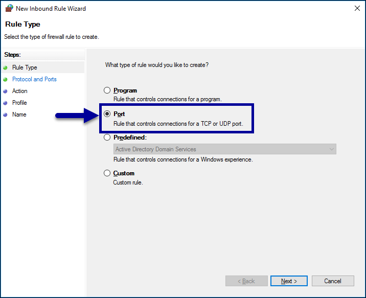 Firewall Setup - Port Rules Step 2