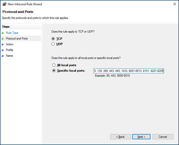 Firewall Setup - Port Rules Step 3