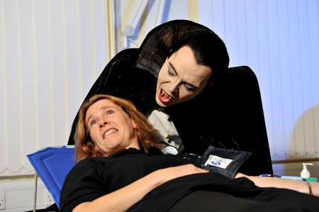 Larraine Penson tries to convince Dracula that she can only donate once every four months (Photo: Brian Slater)