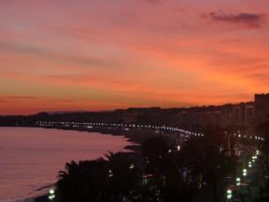 Nice, Baie des Anges; coucher du soleil