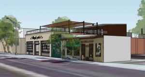 Another rendering of the proposed Illegal Pete's building with addition of a second story set back far enough that it will be hard to see from the street.