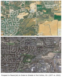 Most of the southern part of the West Central Neighborhoods shown in 1977 (top) and 2012 (bottom). (Click to expand.)