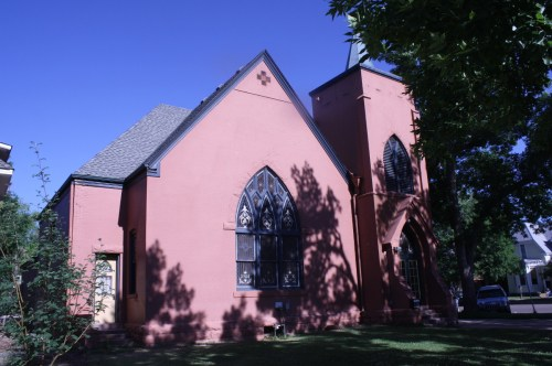 The German Evangelical Congregational church at the corner of Oak and Whedbee was built in 1904 and was designed by Montezuma Fuller.