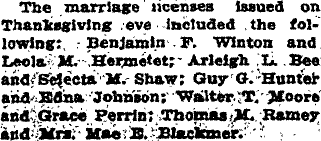 Arleigh and Selecta's marriage was announced in the December 2, 1908 Weekly Courier.
