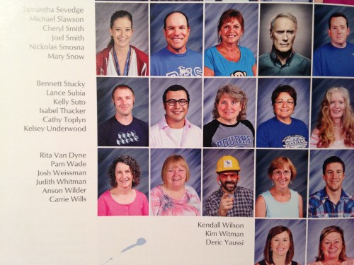 A couple of teachers had a little fun with their yearbook photos in 2014.