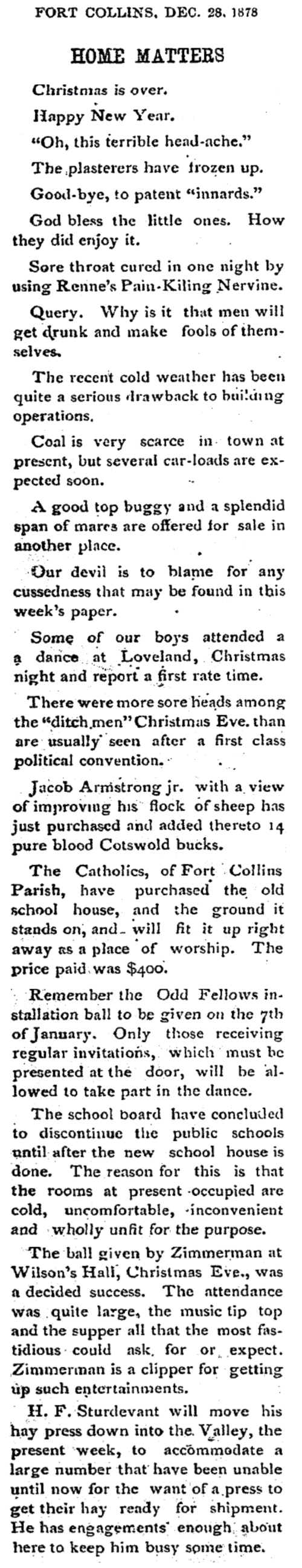 Christmas is over, but the Christmas Ball was a decided success – December 28, 1878