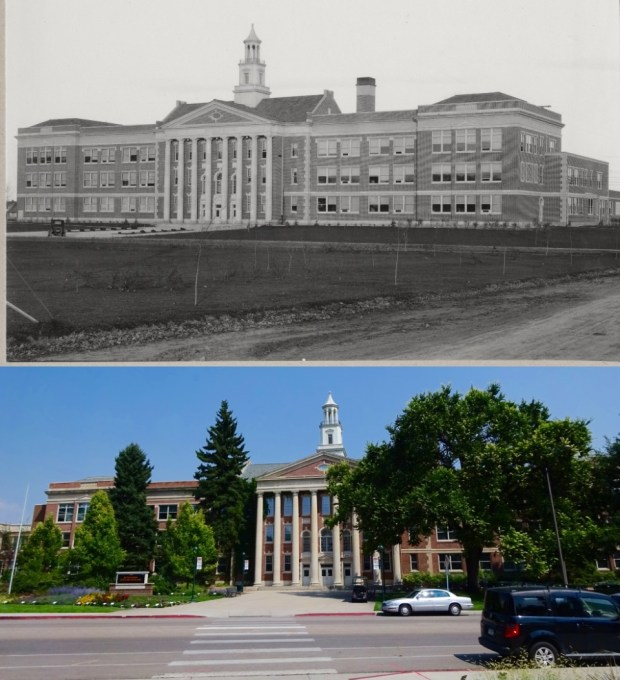Fort Collins High School, now the University Center for the Arts at CSU. The top photo is from the CSU Archive and was taken in 1926.