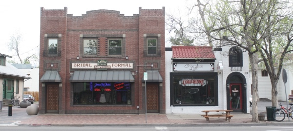 Laurel Street Emporium and Cold Stone Creamery are located in older buildings along Laurel Street.