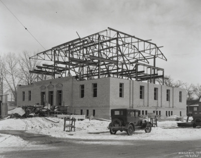 Construction continues at the Masonic Temple. December 31, 1925. Photo from the Fort Collins Archive - #H15897.