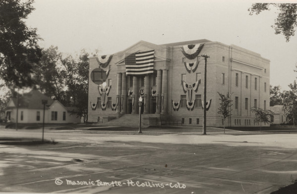 The Masonic Temple soon after its construction. Photo from the Fort Collins Archive - #H12728.