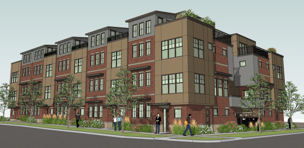 The Townhomes at Library Park as envisioned from the corner of Olive and Mathews. (Image from NoCoTownHomes.com.)