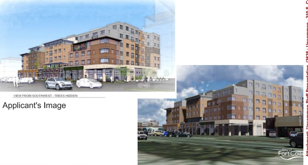 Two views of the front of the Uncommon building. The one at the left is by the developer and the one at the right was created using a new program that the Fort Collins planners created as part of the new Downtown Plan study. (Image from the October 14, 2015 LPC agenda.)