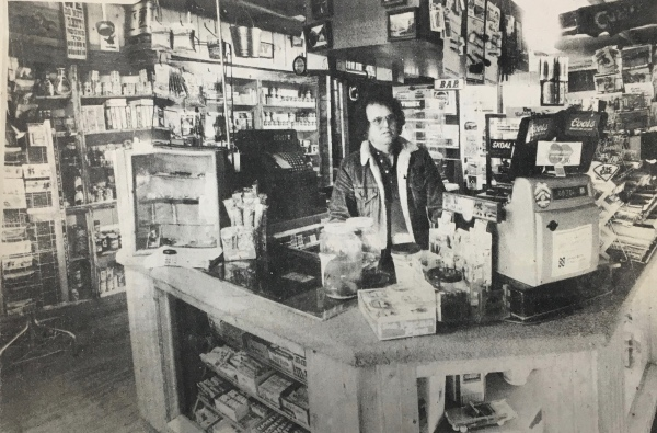 Bob Webb in the Masonville Trading Post around 1979. This photo is taken from a newspaper clipping in the Fort Collins Archive.