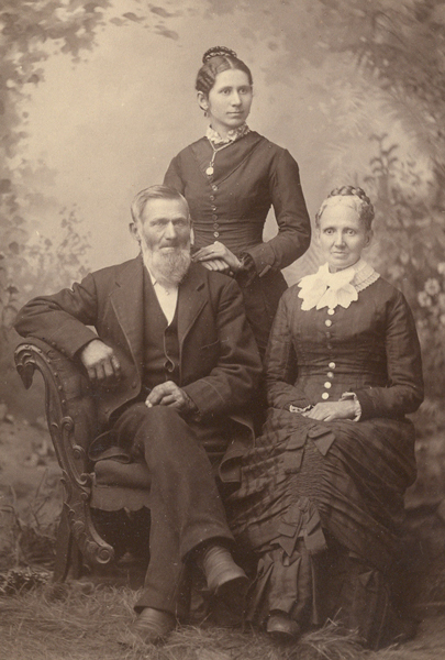Exhibit 3 – Miss Mary Margaret Chatfield is with her parents in this photo, sometime before her marriage to Noah Shepardson.