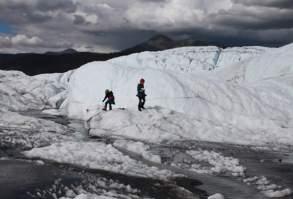 Penny and Florin playing on Matanuska Glacier.