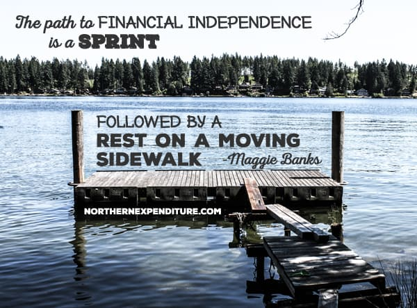 The path to financial independence is a spring followed by a rest on a moving sidewalk.