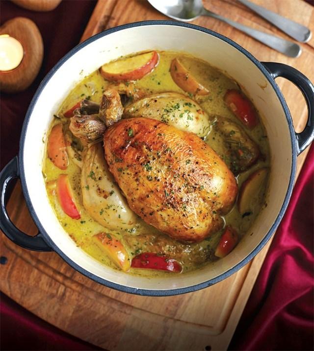 pot roast chicken cider apples
