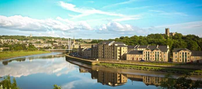St George's Quay and view of Lancaster