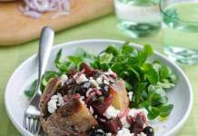 Baked potato with beetroot