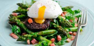 Baked British asparagus pancetta black pudding salad