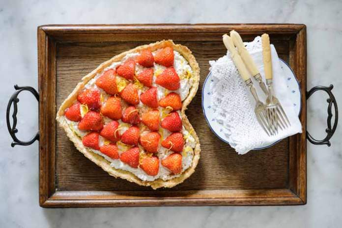 Strawberry Ricotta Lemon and Cream Tart