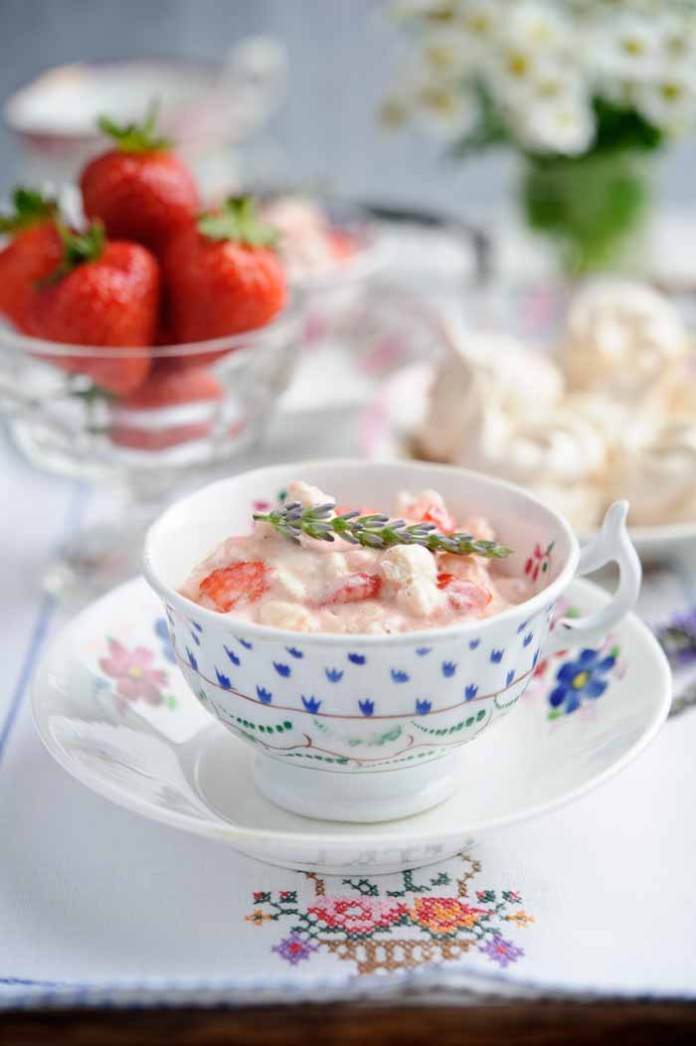 Strawberry and lavendar Eton Mess