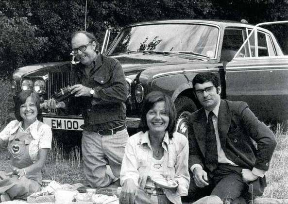Mike (right) on a picnic in the late 1960s with Eric and show guests The Karlins.