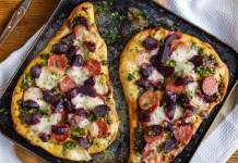 naan bread pizza with sweet chilli beetroot parsley capers pepperoni and mozzarella