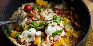 Radish and butternut pilaf with almonds and greek yogurt