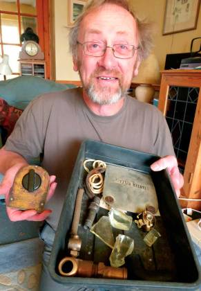 David with the tray of items from the Liberator
